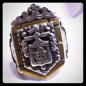 Other - AUTHENTIC Crowned Mexican Biker Coat Of Arms Ring